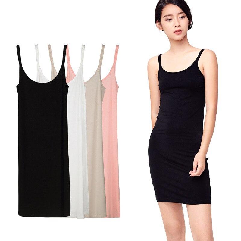 best website dd4dc 537f6 Modal elegante nachthemden frauen sexy full slips kleid lange unterkleid  solide unterrock für mädchen inneren petticoat 4 farben AD382
