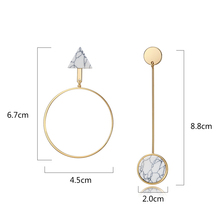 Viennois Light Gold Color Asymmetric Dangle Earrings for Woman