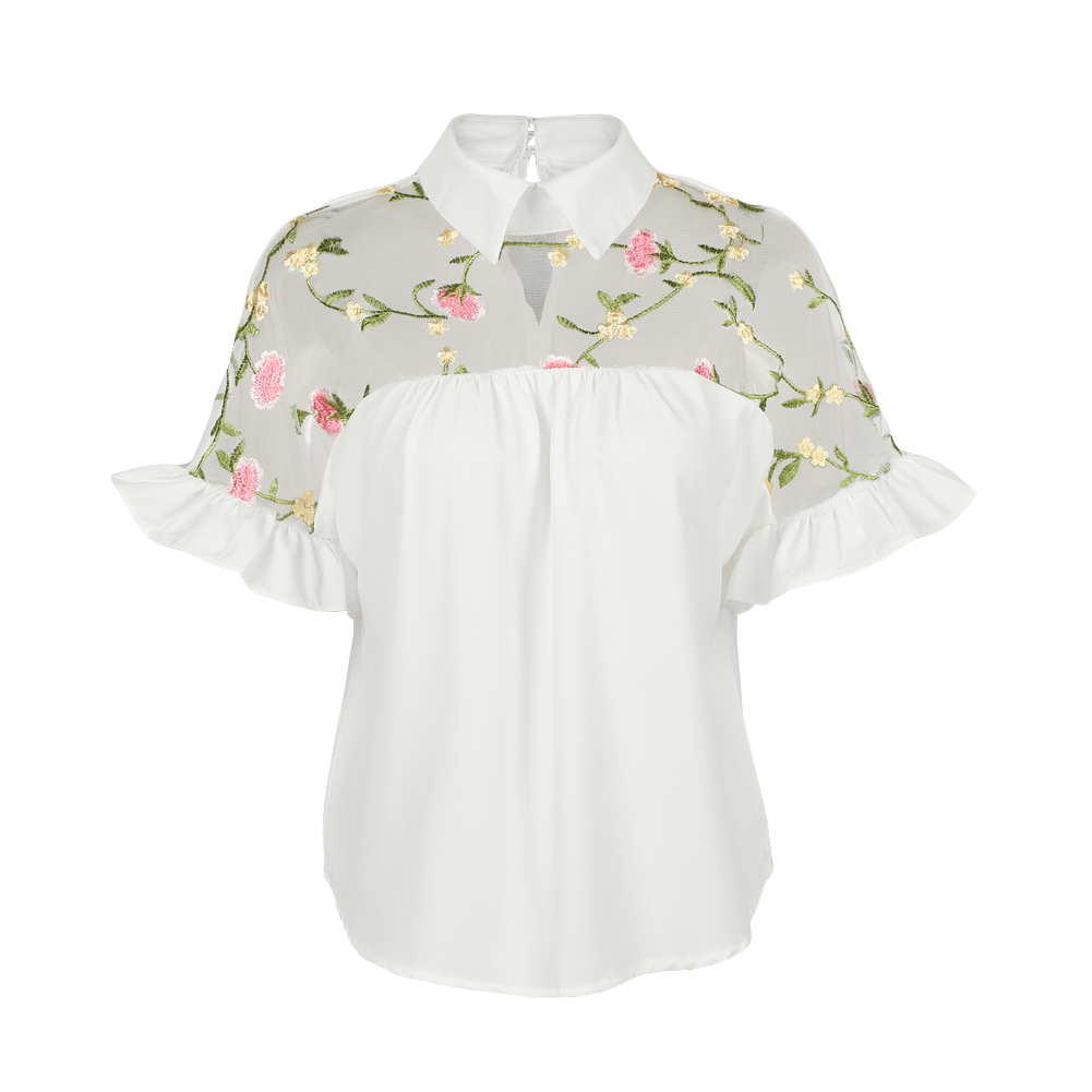 2019 Summer Fashion Sexy Women Mesh Floral Embroidery Splice Blouse Short Sleeve Flare Sleeve Turn-Down Collar Streetwear Top