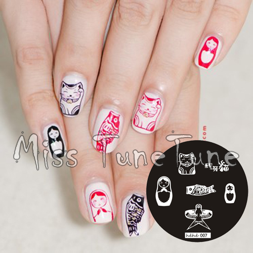 New Stamping Plate Hehe07 Russian Doll Cat Fish Nail Art Stamp