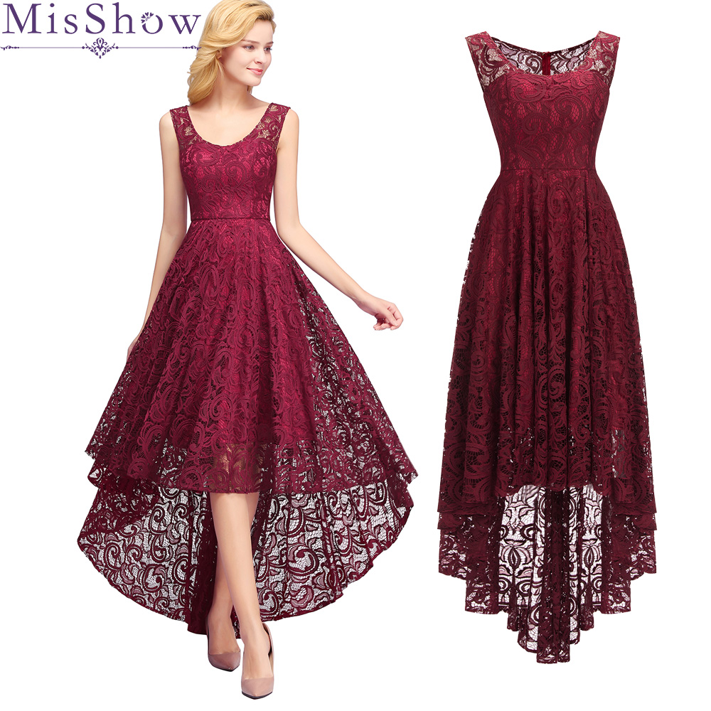New Evening Dresses High Low Sleeveless burgundy Long Back Short Front Prom Women Party Dress Evening