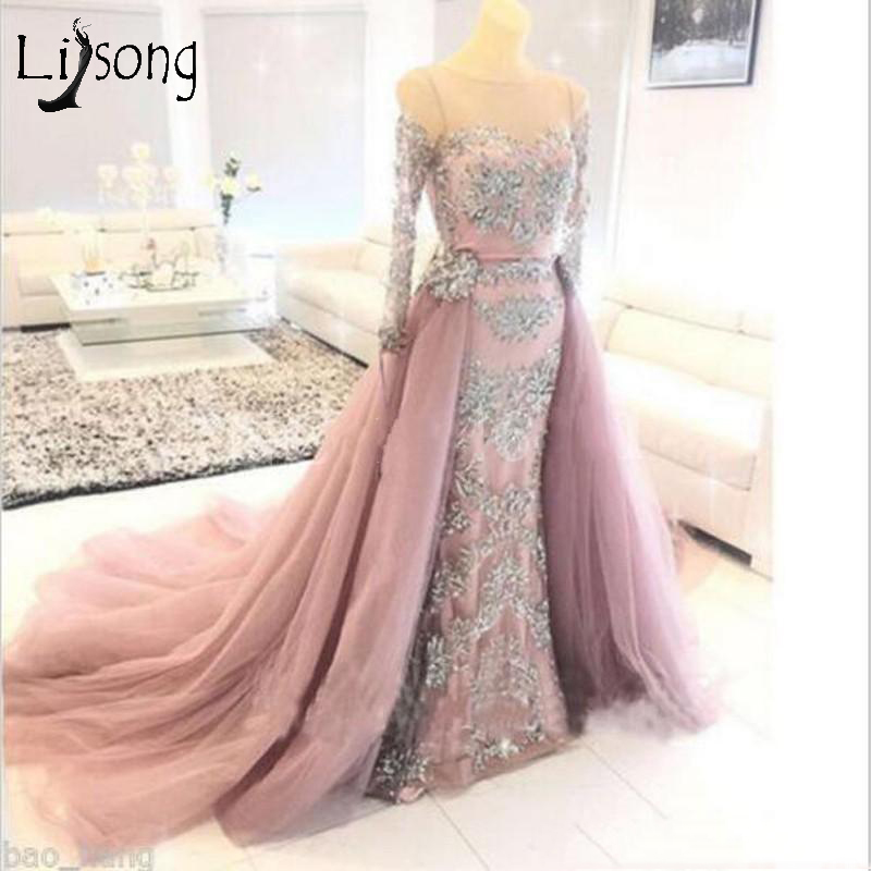 Abiye 2018 Blush Pink Mermaid   Prom     Dresses   With Detachable Train Full Sleeves Sparkle Crystal Lace Long   Prom   Gowns Abendkleider