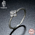 VOROCO 3 Size Authentic 925 Sterling Silver Clear CZ Simple Finger Ring for Women Fashion Jewelry A7196