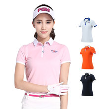 2018 PGM Golf T-shirts for Women Summer Outdoor Sport Clothes Soft Viscose Shirt Short Sleeve Underwear Clothes Golf Apparel(China)