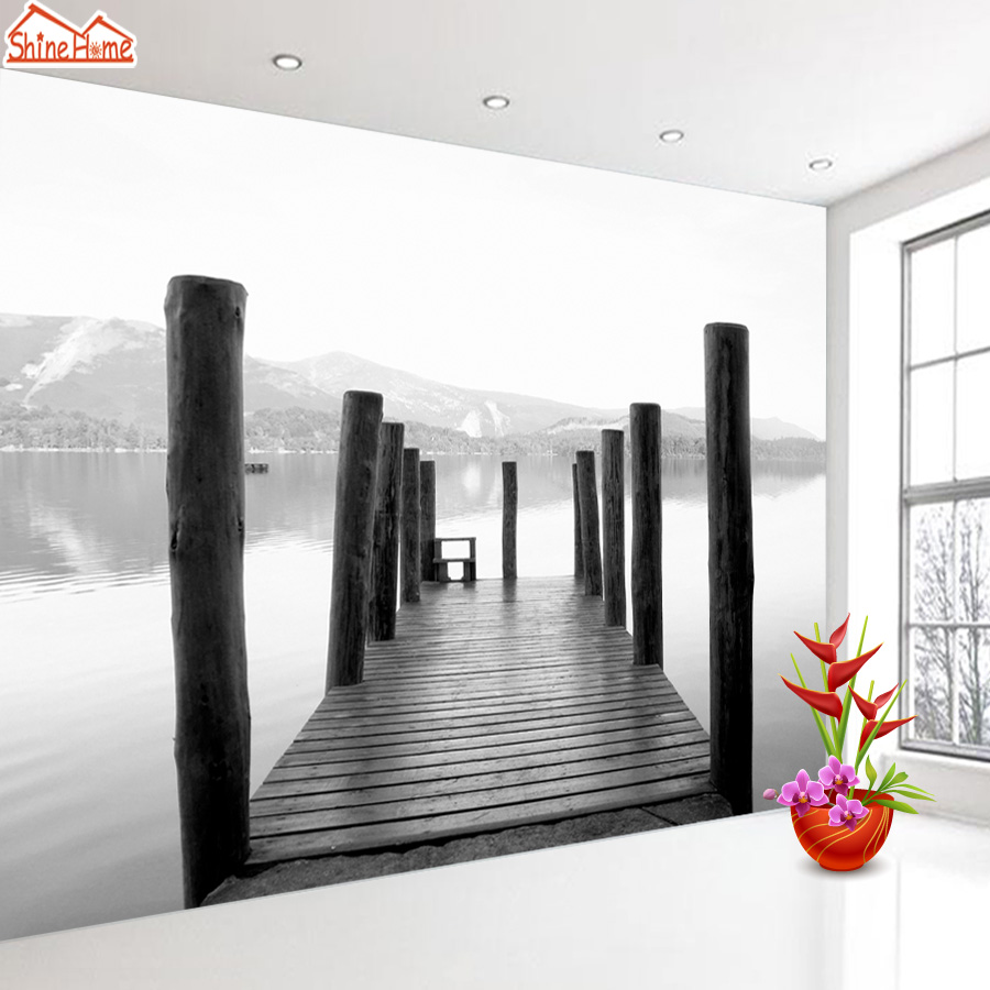 ShineHome-Wooden Bridge Dock Black and White Wallpaper for Murals Roll for 3d Walls Wallpapers for 3 d  Living Room Wall Paper shinehome europe church black and white painting wallpaper wall 3d murals for walls 3 d wallpapers for livingroom 3 d mural roll