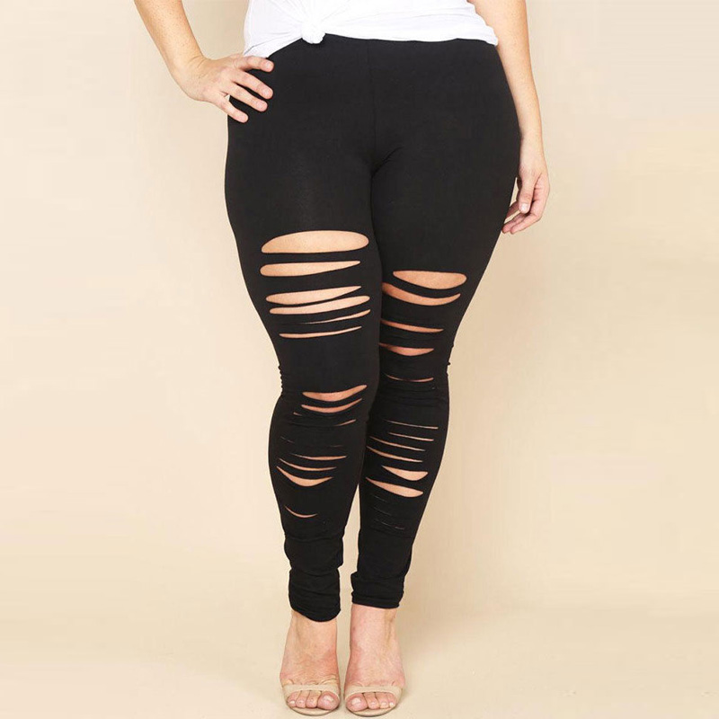 new Women Plus Size Pencil pants summer 2018 Stretch Casual Skinny Pants Hole Ripped Trousers ladies pantalones mujer