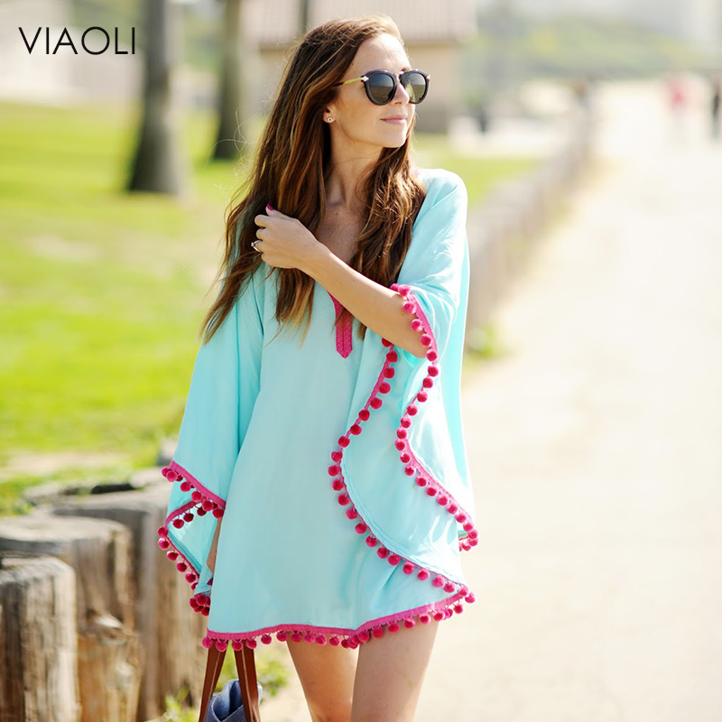 VIAOLI New Women Sexy Colored Tassel See-Through Crochet Tunic Beach Cover Up Swimwear Summer Bikini Cover Up Swim Beach Dress
