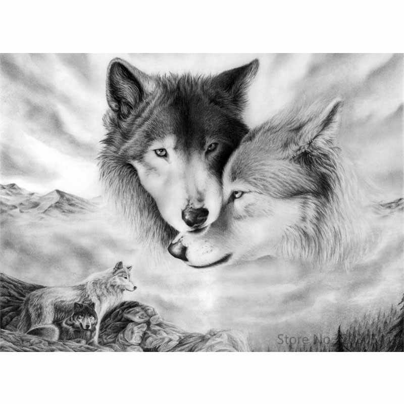 CHUNXIA Framed DIY Painting By Numbers Animals Wolf Acrylic Painting Modern Picture Home Decor For Living Room 40x50cm RA3228