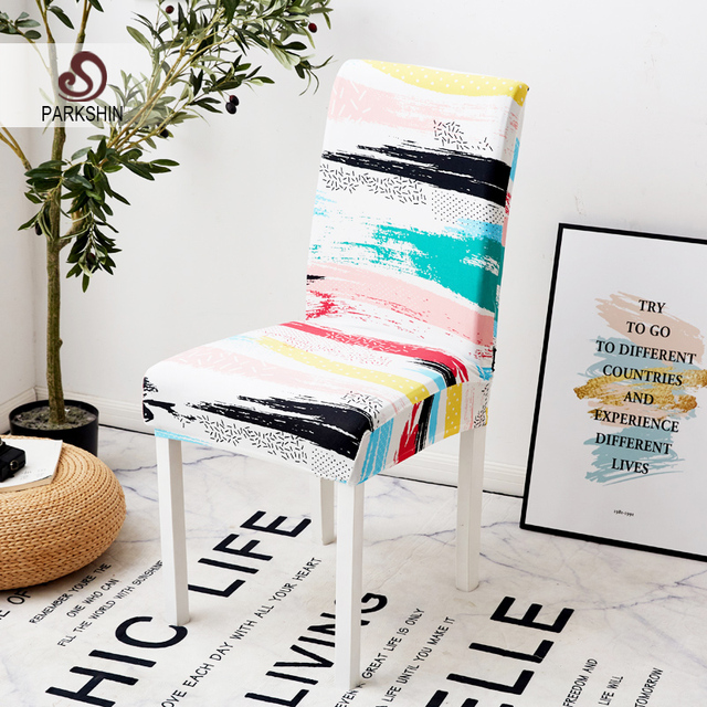 Parkshin Modern Colorful Elastic Dining Chair Slipcover Removable Anti dirty Kitchen Seat Case Stretch Chair Cover For Banquet