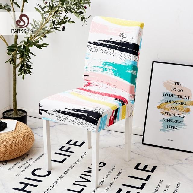 Parkshin 현대 다채로운 탄성 다이닝 의자 Slipcover 이동식 안티 더러운 주방 좌석 케이스 스트레치 의자 커버 연회에 대한