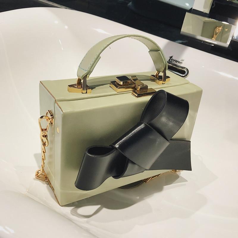 Sweet Girl Box Tote bag 2019 Fashion New Quality PU Leather Women's Designer Luxury Handbag Bow Chain Shoulder Messenger bags