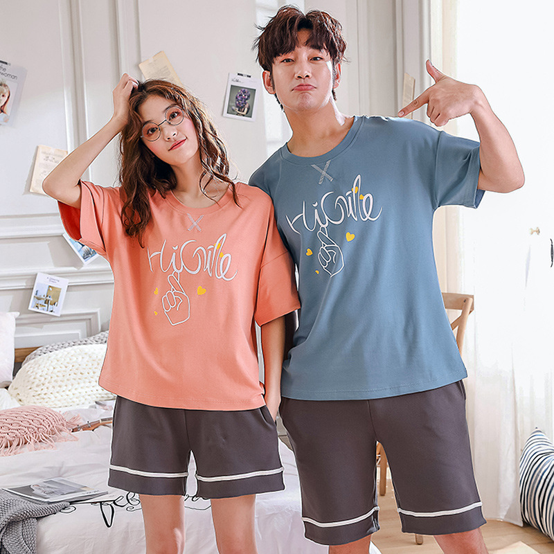 Summer Men's Pyjama Shorts Pajamas For Couples Cotton Pajamas For Men Round Collar Loose Micro Elastic Force Lounge Wear For Men