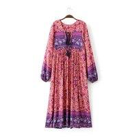 Vestido de Estampado floral de Manga Larga Flojo Étnico Popular gitana Fábula Vestidos Mujer Hippie de Boho Del Vestido Maxi Vestido de Fiesta Vestido Bohemio