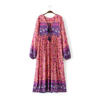 High Quality Gypsy Ethnic Maxi Dresses 2017 Spring Summer Tribe Style V Neck Bohemian Floral Print