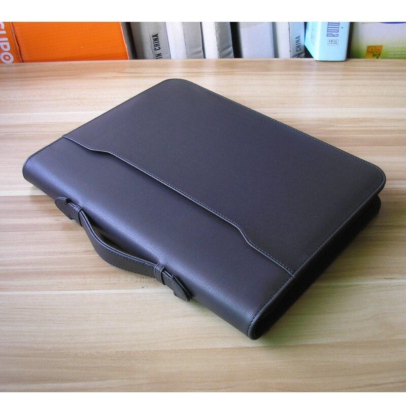 Cuir polyuréthane A4 padfolio manager dossier porte-documents sac de classement organisateur avec poignée pliable couverture recharge papier 1198B