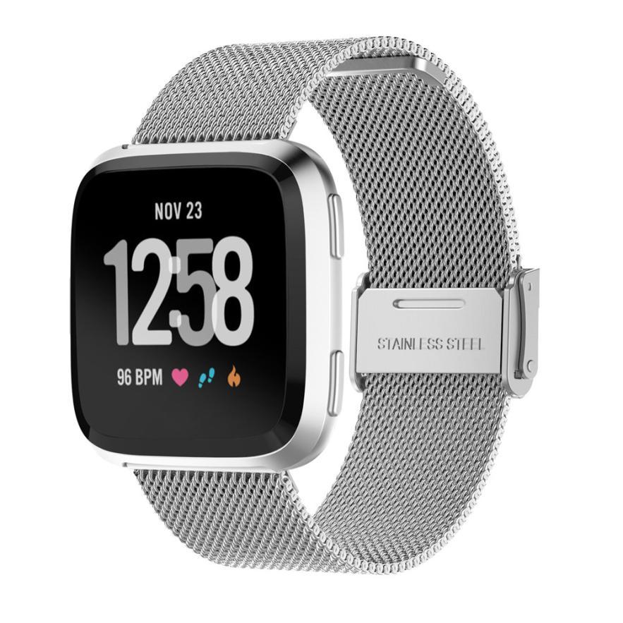 Hiperdeal nuevo reemplazo de malla de acero inoxidable banda de reloj para Fitbit versa 18Apr04 gota nave F