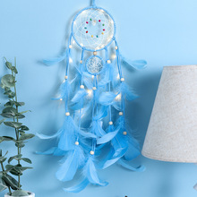 Blue feather dream catcher with lamp hand made dreamcatcher pendant gift for students wedding decoration