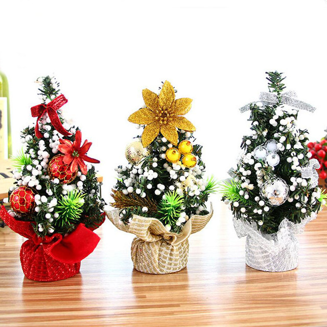 Mini Christmas Decorated Trees 20 Cm With Christmas Tree Ornaments