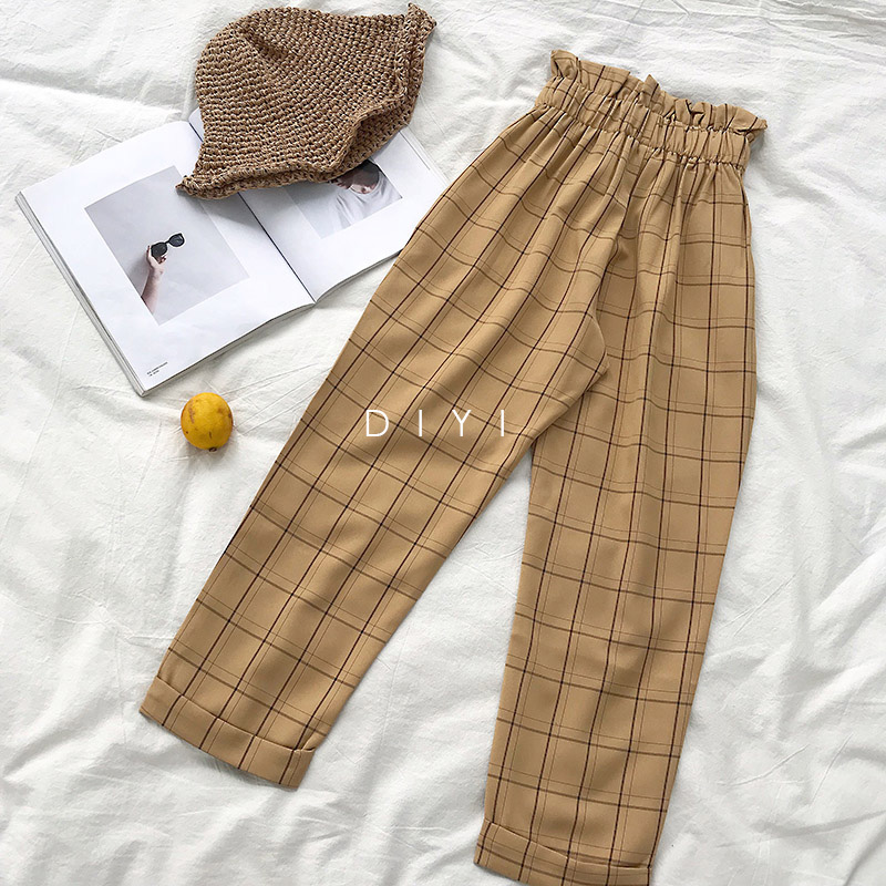 CamKemsey Japanese Harajuku Casual Pants Women 2019 Fashion Lace Up High Waist Ankle Length Loose Plaid Harem Pants 33