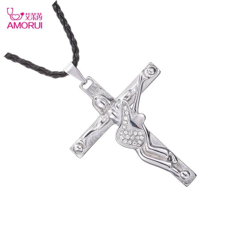 AMORUI Johnny Hallyday Edelstahl Gitarre Kreuz Anhänger Halskette mit schwarz Leder Kette männer Halsketten Christian Kruzifix