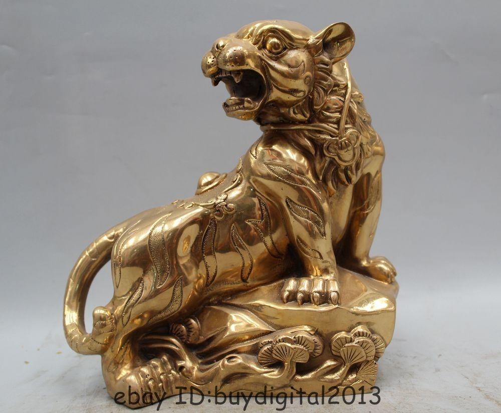 9 China Brass Folk Animal Tree Fengshui Zodiac Year Tiger Sculpture Statue9 China Brass Folk Animal Tree Fengshui Zodiac Year Tiger Sculpture Statue