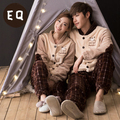 Free Shipping New arrive Winter Full Sleeve Coral Velvet Soft and Comfort Couples Beige Colour Warmth Housewear Sets