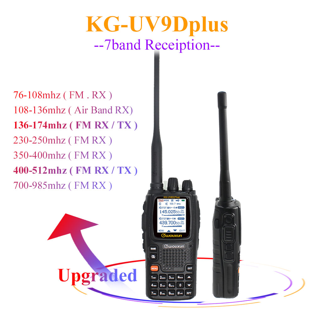 Wouxun KG-UV9D Plus  Vhf Uhf Multi-functional Ham Radio Communciator DTMF 2 Way Raido 7 Bands Walkie Talkie Station For Security