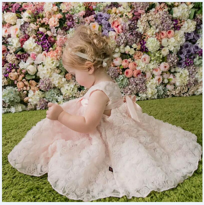 все цены на Girl's Pageant Princess Dresses 2017 Sleeveless Rose Flower Girls Dresses Gauze Kids tutu Dress Children Wedding Party Dresses