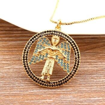 Collar de Ángel guardián de círculo Popular de alta calidad, joyería de cobre CZ, oro/oro rosa/colores blancos para hombres y mujeres