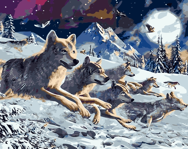 6003-8034 Home wall furniture Decorations DIY number painting children Graffiti three Snow Wolf painting by numbers 0329zc0401 home wall furniture decorations diy number painting children graffiti lonely snow wolf painting by numbers