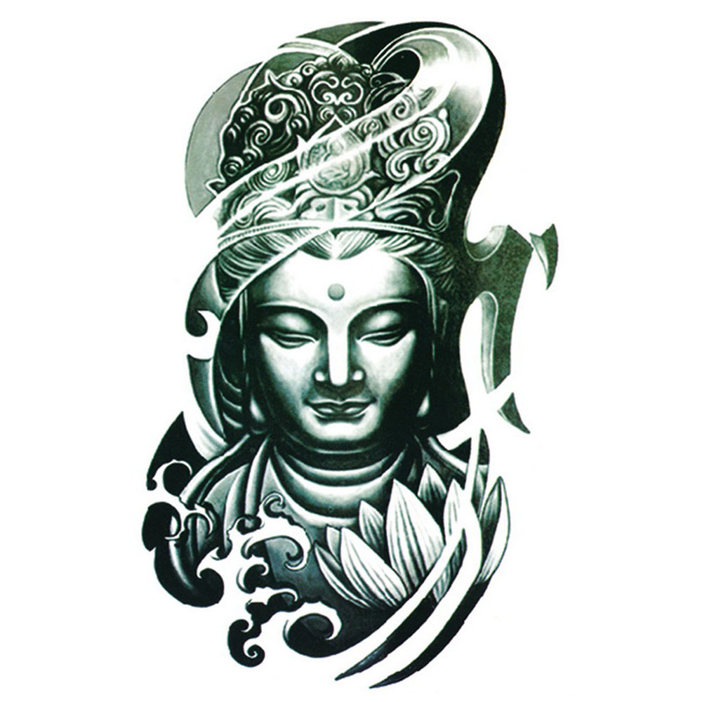 Yeeech Temporary Tattoos Sticker for Men Women Large Fake Buddha Tribal Designs Arm Leg Back Body Art Waterproof Real Looking