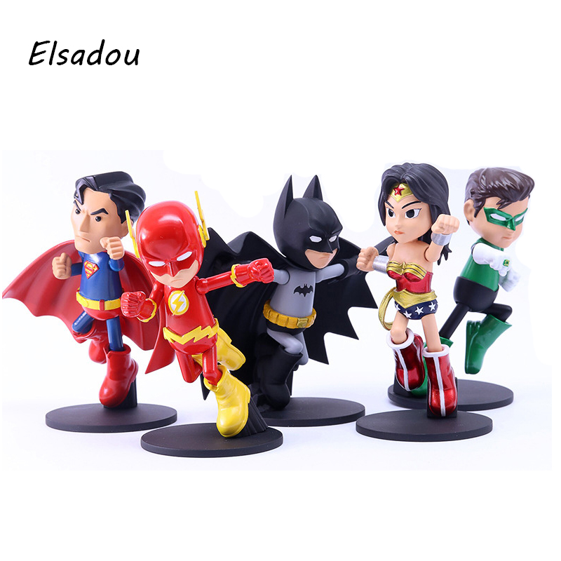 Elsadou 5pcs/set DC Justice League Super Hero Batman The Flash Action Figure Doll Superman Arrow The Wonder Woman Toys new hot 18cm super hero justice league wonder woman action figure toys collection doll christmas gift with box