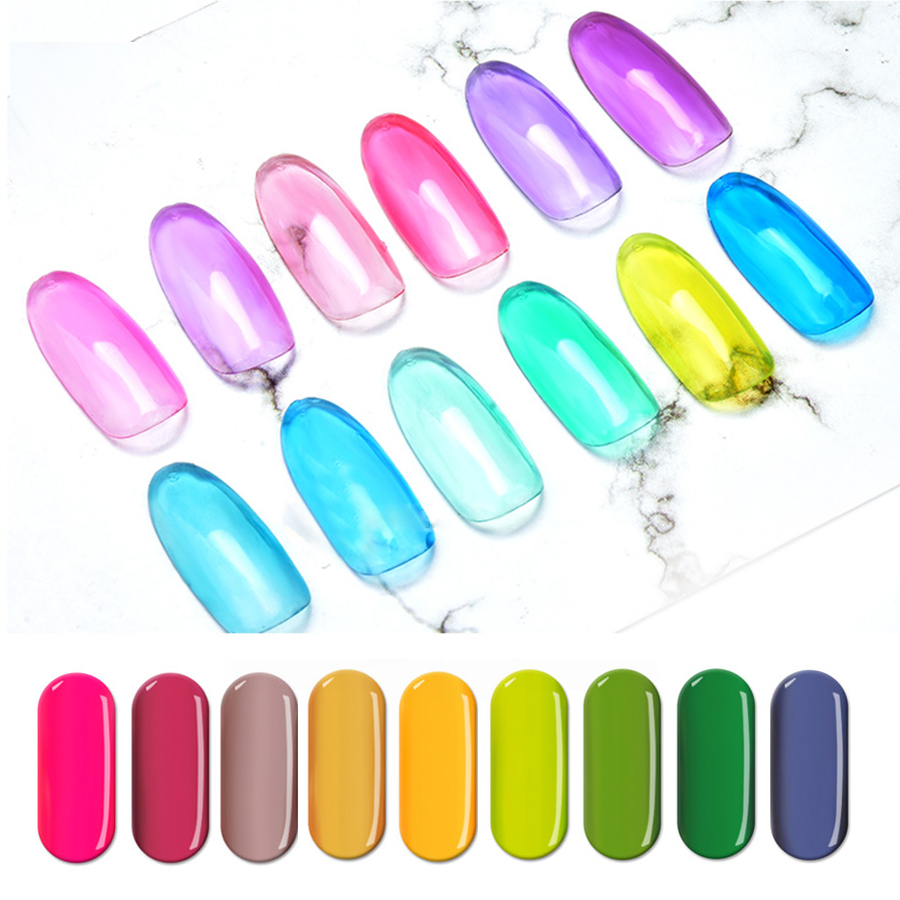 Glaze Nail Gel LED UV Polish Coloured Translucent Lacquer Stained Glass Art Creative Manicure DIY