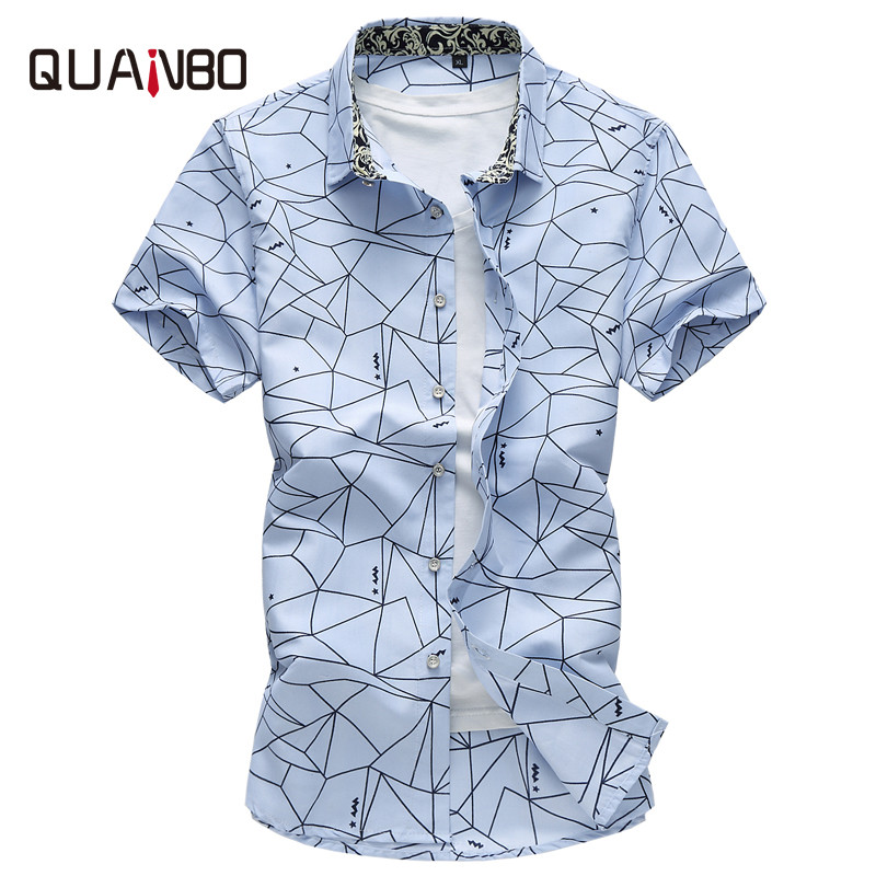 Plus size 5XL 6XL 7XL New Arrival Summer Geometric Print Casual Shirts Brand clothing Short sleeve Men shirt Camisa