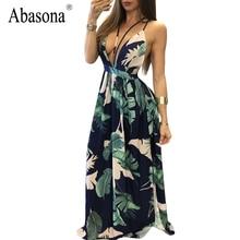 Abasona глубоким v-образным вырезом С НАБОРНЫМИ БРЕТЕЛЬКАМИ Платье с принтом для девочек с открытой спиной Женская летняя обувь платье 2017 тропический Длинные Вечернее Макси платья vestidos Femme