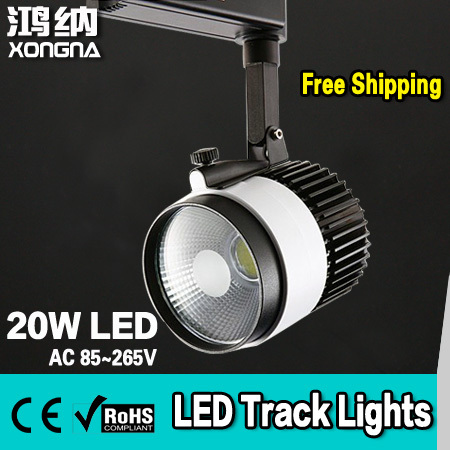 Free Shipping Super Bright COB 20W Commercial LED Track Lighting with CE & RoHS Approval 2-Wire Connector ce emc saa rohs gs ul listed commercial 100w commercial led pendant lights