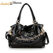 Black Women Leather Handbags Hobos Female Messenger Shoulder Bag Ladies  Crossbody Mermaid Sequin Bag Glisten Cool Gift to Girl 7eae064d4181