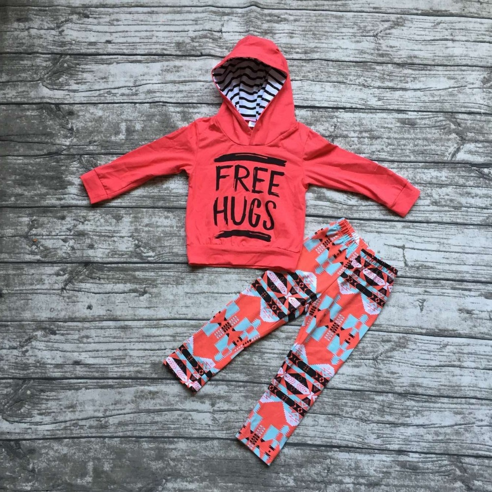 kids Fall clothes kids long sleeve outfits baby girls hoodie clothing girls FREE HUGS outfits children Aztec Pant sets free ship fall winter long sleeve children clothing sets infant girls ruffle outfits knitted cotton newborn baby clothes f110