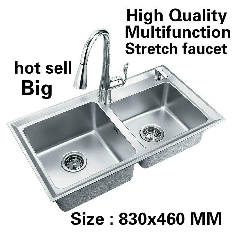 Livraison gratuite appartement lavage légumes multifonction robinet extensible cuisine double rainure évier 304 acier inoxydable 83x46 CM