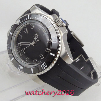2019 Valentines gifts 40mm Bliger Black Dial Date SS Case Rubber strap ceramic Bezel Automatic Mechanical men's Watch