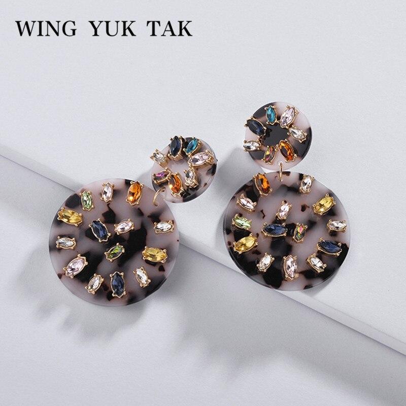 316d2dd527c9 Pendientes de cristal coloridos de lujo a la moda wing yuk tak para mujeres  bohemias boda pendientes ...