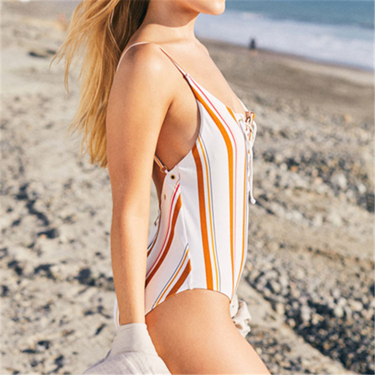 One Piece Swimsuit Bathing Suit Women Lace up Hollow Striped Paded Swimwear Women Sexy Swimsuit Beach Backless Swim Wear S XL in Body Suits from Sports Entertainment