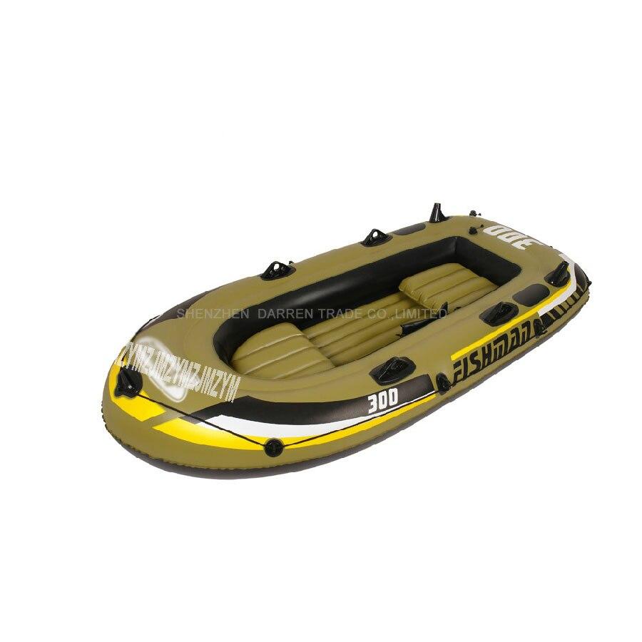 Livraison gratuite DHL 2 adulte + 1 enfant preson bateau de pêche gonflable bateau à rames PVC air kayak comprend deux sièges + une paire de rames + pompe à main
