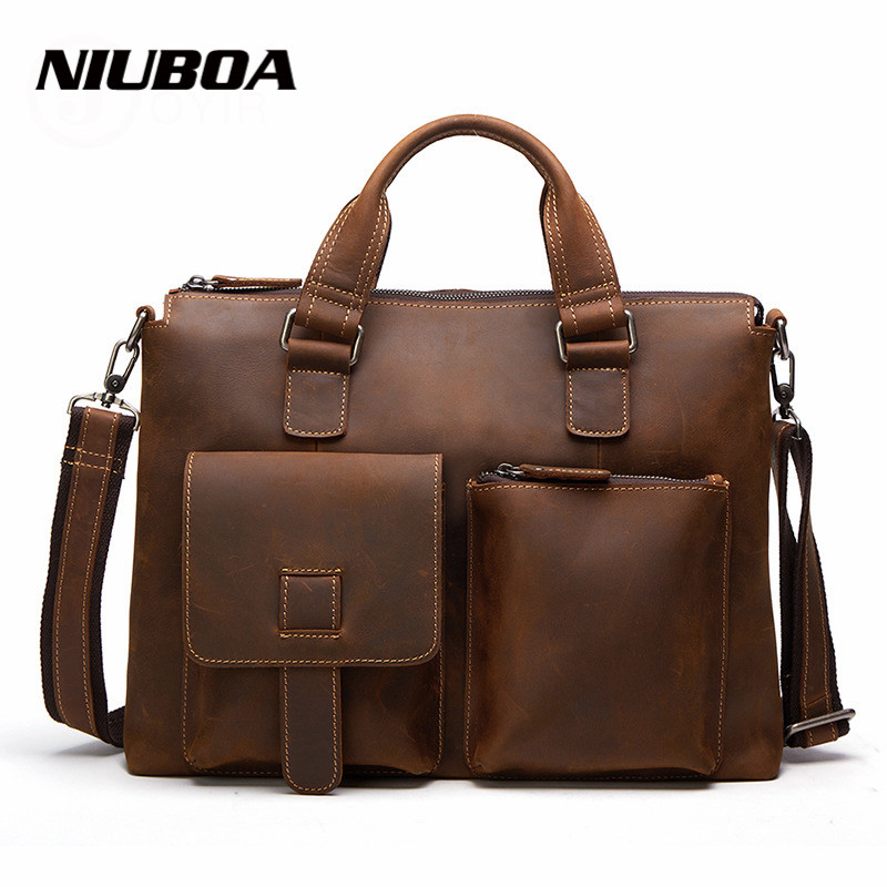 NIUBOA 100% Top Cow Genuine Leather Shoulder Bags New Casual Crazy Horse Laptop Handbags Men Messenger Bags Business Briefcase niuboa genuine leather shoulder bags 100