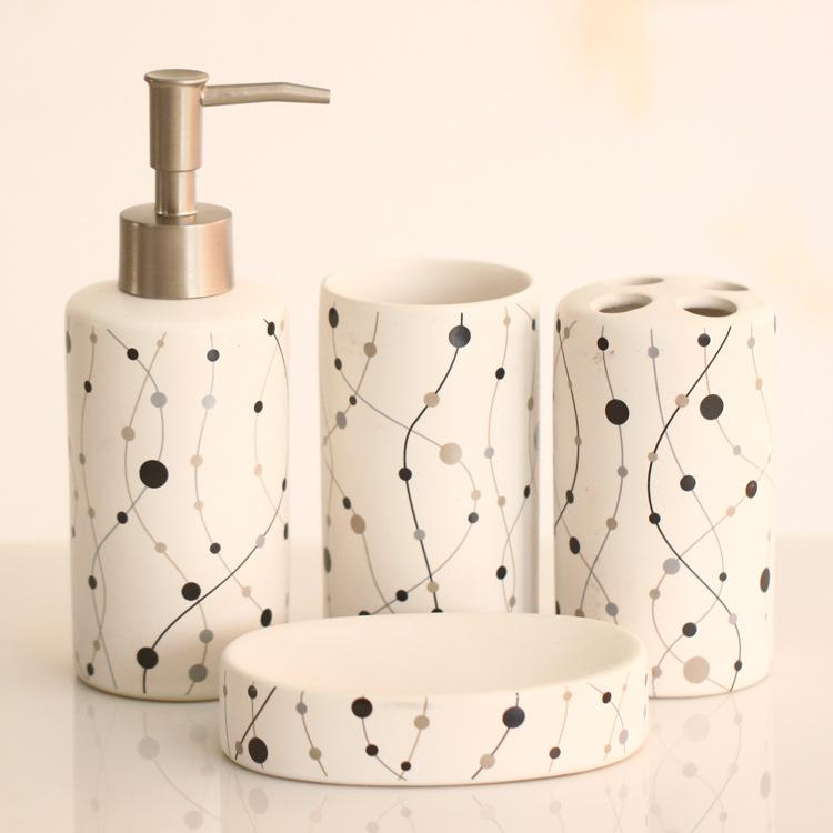 4 pcs fashion ceramic bathroom accessories set sanitary for Ceramic bathroom accessories sets