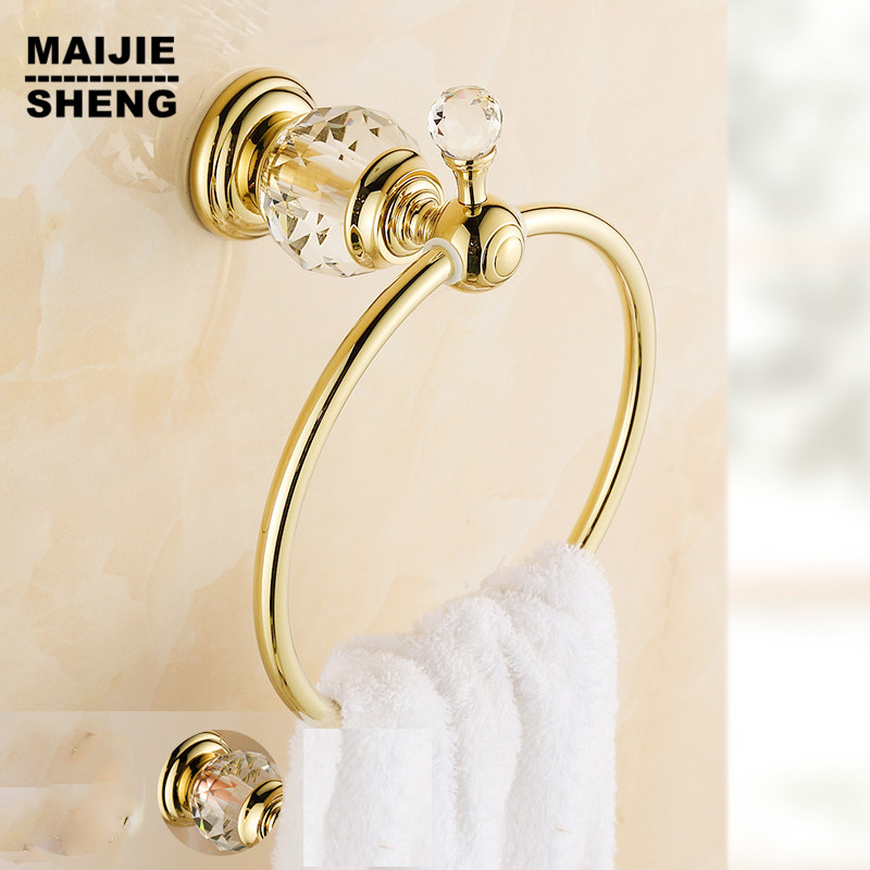 Luxury Crystal Brass Gold Towel Ring,Towel Holder, Towel Bar Bathroom Accessories home decoration towel bar Free Shipping copper finished luxury gold towel holder brass towel ring bathroom accessories with crystal decoration