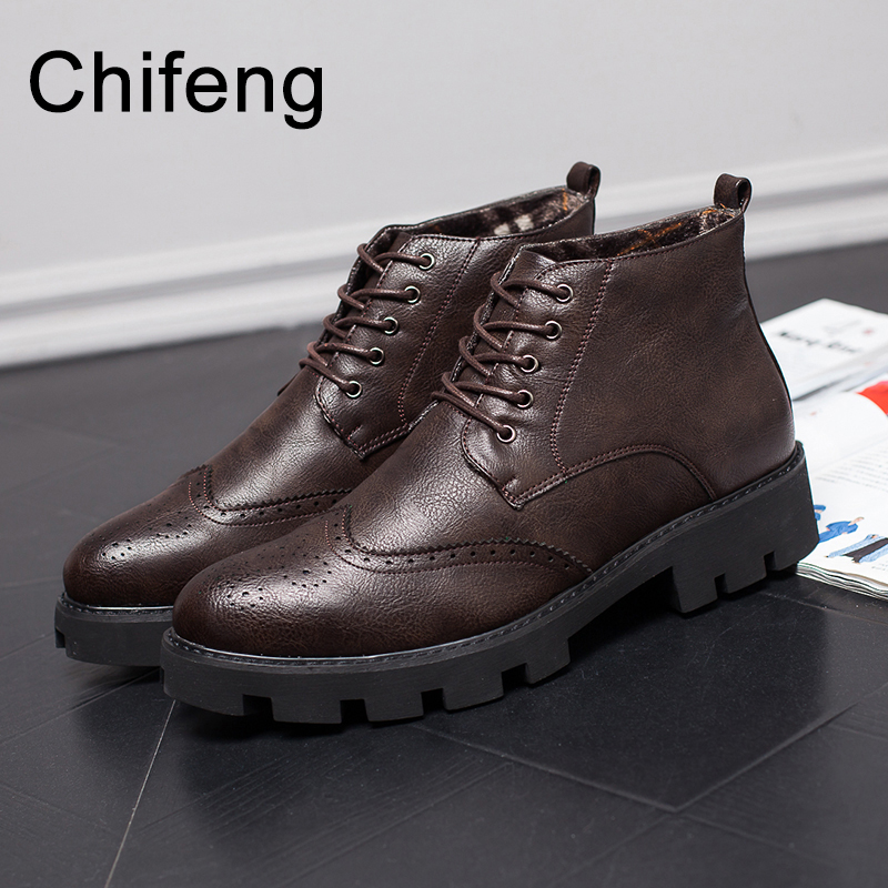 winter shoes for men chelsea boots mens leather boot ankle men's shoe casual platform man high top shoe black цены онлайн