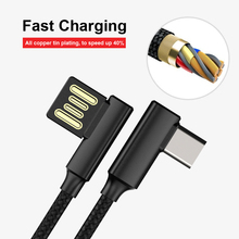 USB Type-c Data Cable Double-sided Blind insertion 90 Degree Double Bend Game Fast Charge line For Samsung S9 S8 Phone Charging 90 degree right double elbow micro usb male charge data cable bend left retractable spring line for samsung android mobile phone