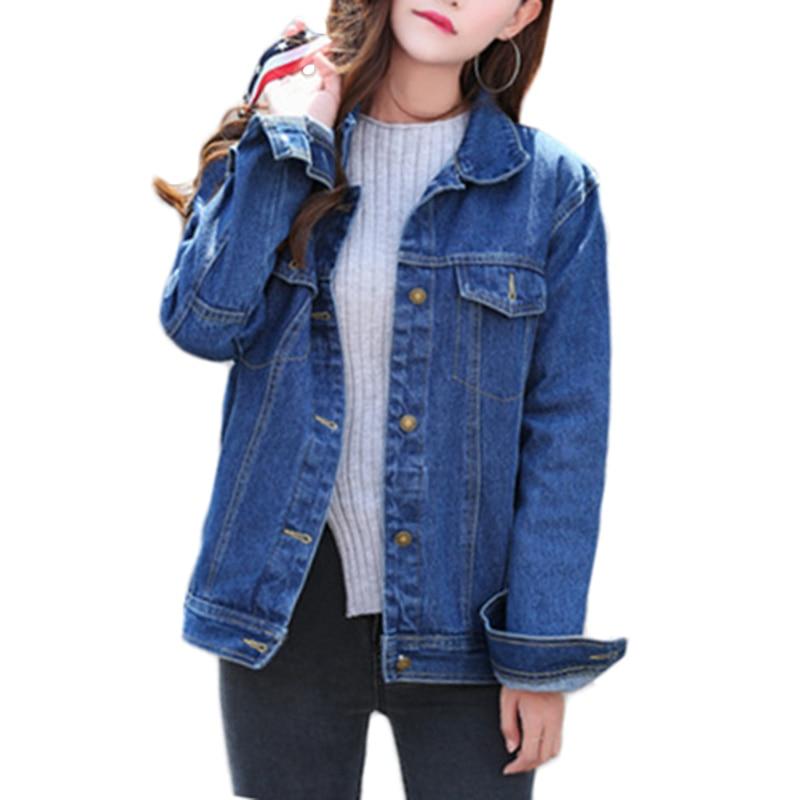 Image 5 - Las nuevas mujeres Denim chaqueta de primavera y otoño de manga  larga suelta básico rebelde abrigo de las mujeres Harajuku azul marino  chaqueta Jean corta abrigos A449chaquetas básicas