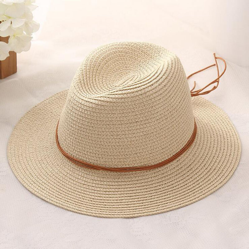 Women Summer straw Sun hat Boho Beach wide Brim Fedora hat Sunhat Trilby  panama Hat Gangster sombrero men Cap -in Sun Hats from Apparel Accessories  on ... 6abda2132e6f